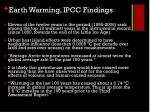 earth warming ipcc findings