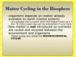 matter cycling in the biosphere