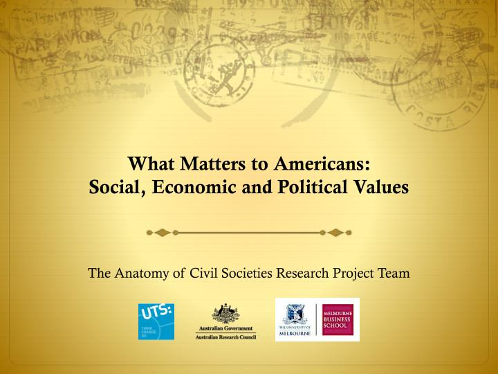 what matters to americans social economic and political values n.