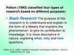 patton 1990 classified four types of research based on different purposes