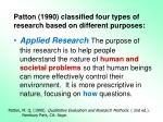 patton 1990 classified four types of research based on different purposes1