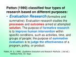 patton 1990 classified four types of research based on different purposes2