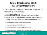 future directions for dber research infrastructure