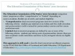 features of prescriptive presentations the education commission of the states 2001 inventory