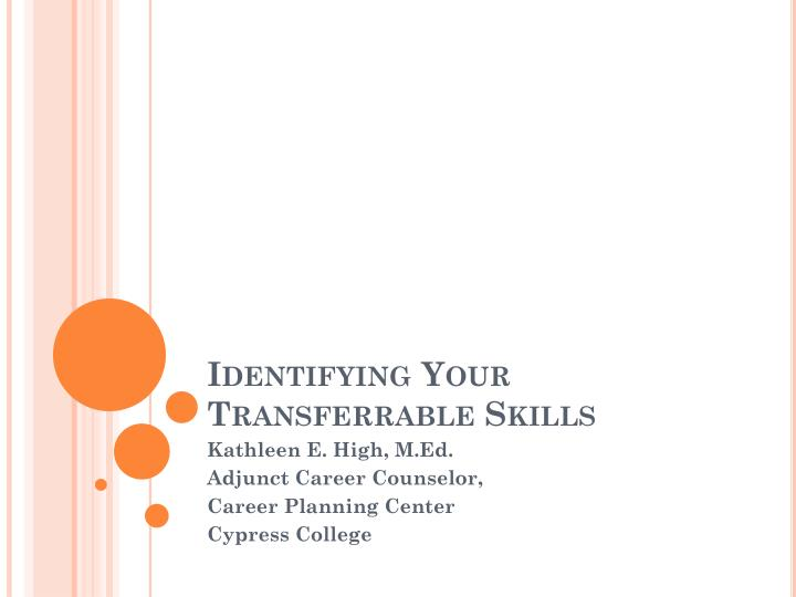 identifying your transferrable skills n.