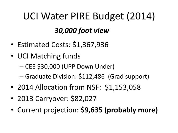 uci water pire budget 2014 n.