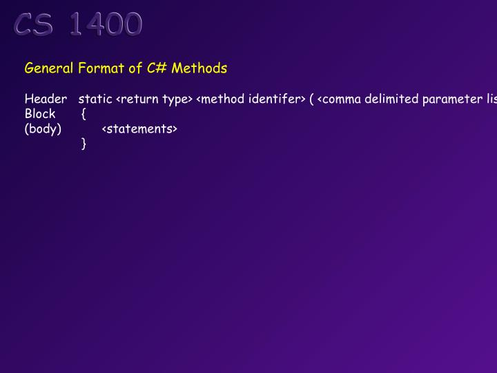 General Format of C# Methods