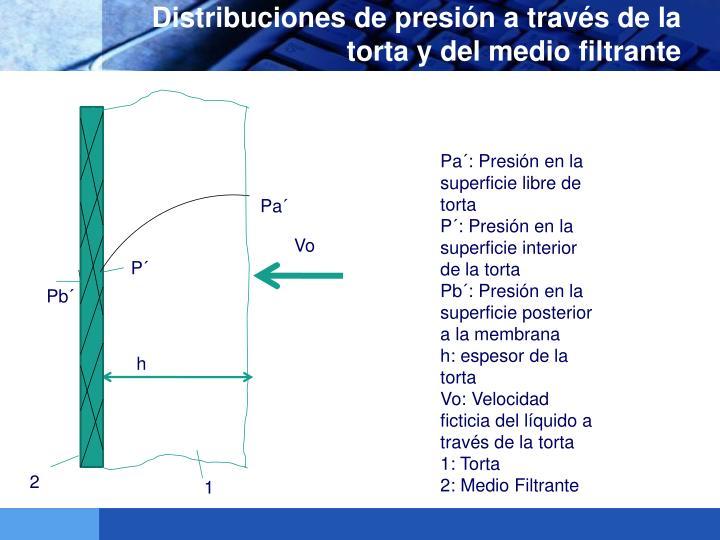 Distribuciones de presión a través de la torta y del medio filtrante