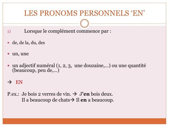 Les pronoms personnels en