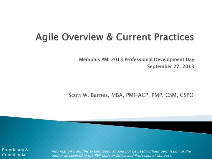 agile overview current practices memphis pmi 2013 professional development day september 27 2013 n.