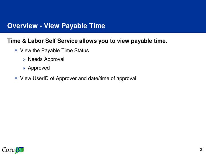 Overview view payable time