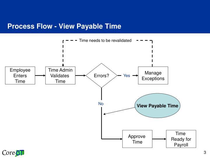 Process flow view payable time