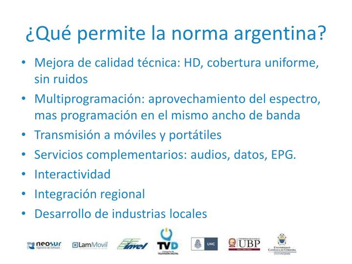 ¿Qué permite la norma argentina?