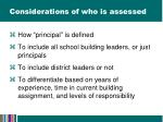 considerations of who is assessed