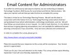 email content for administrators