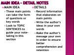 main idea detail notes1