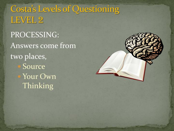 Costa s levels of questioning level 2