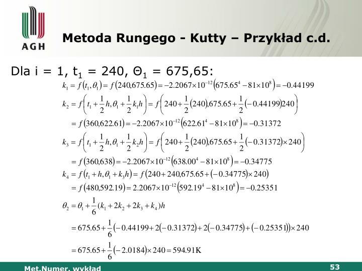 Metoda Rungego - Kutty – Przykład c.d.