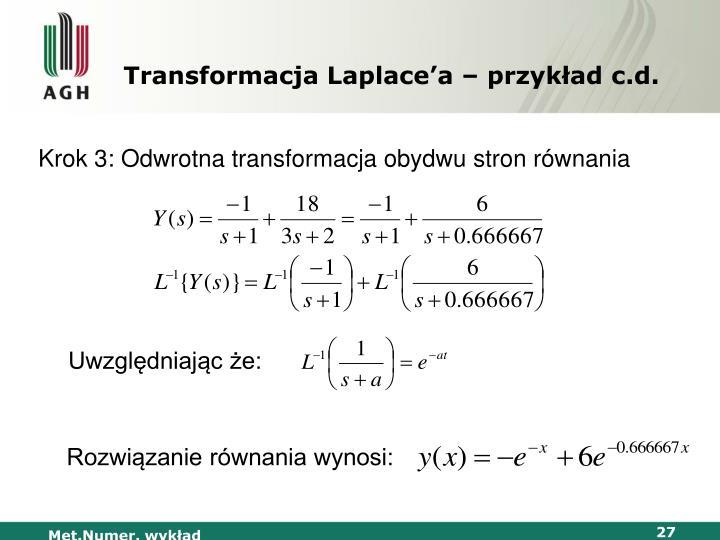 Transformacja Laplace'a – przykład c.d.