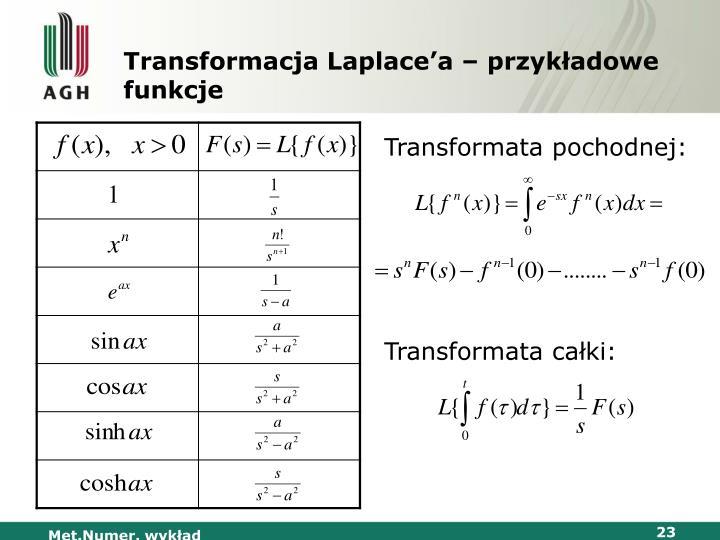 Transformacja Laplace'a – przykładowe funkcje