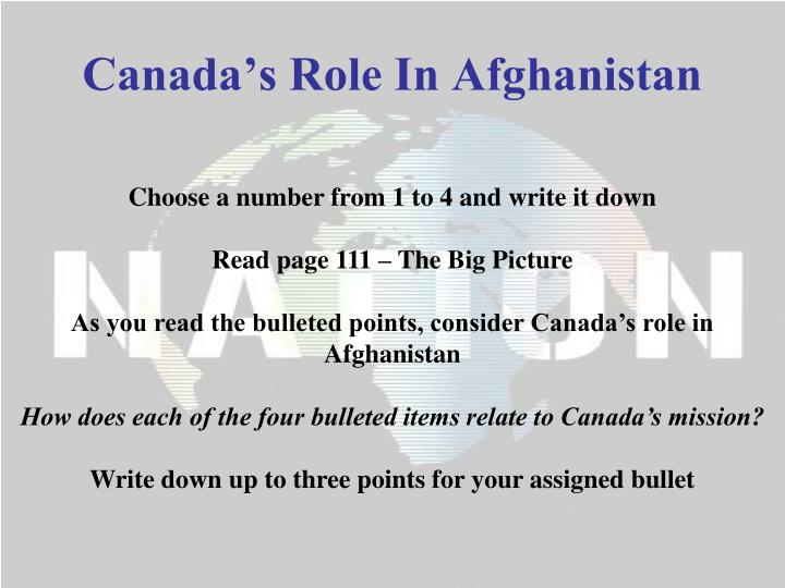 Canada s role in afghanistan