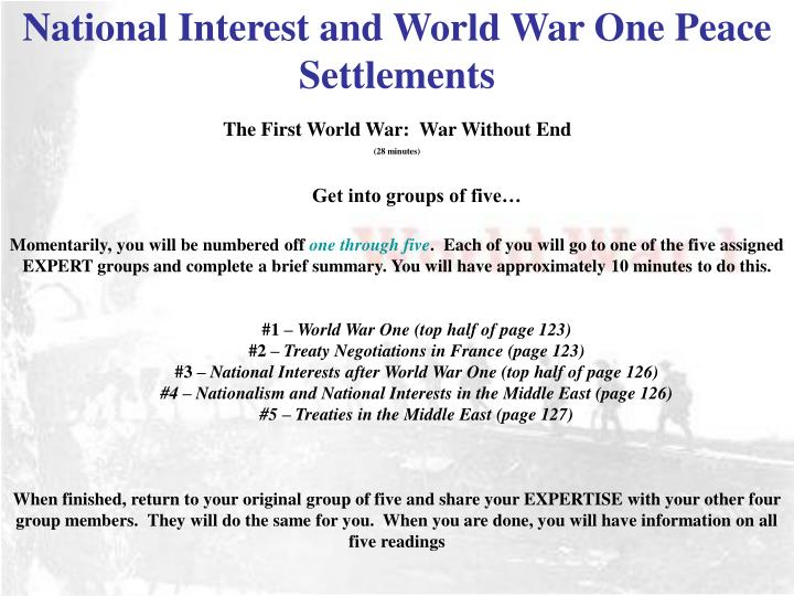 National Interest and World War One Peace Settlements