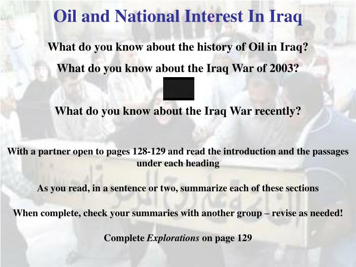 Oil and National Interest In Iraq