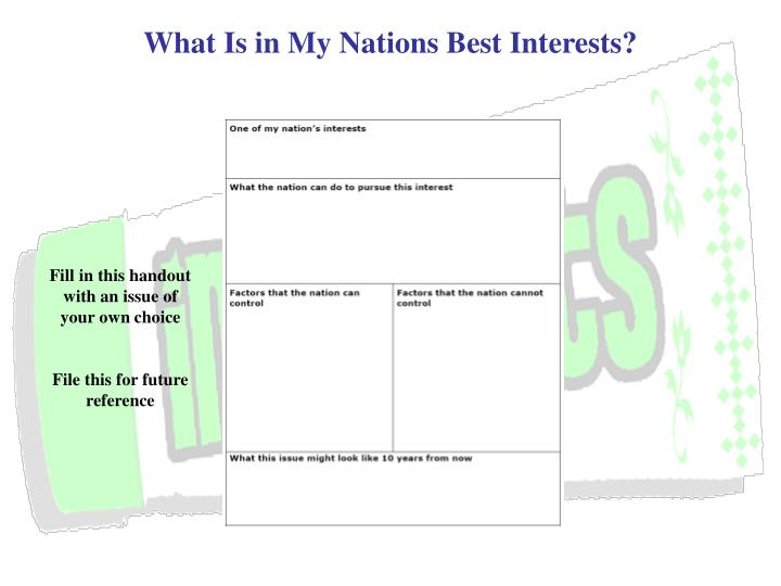 What Is in My Nations Best Interests?