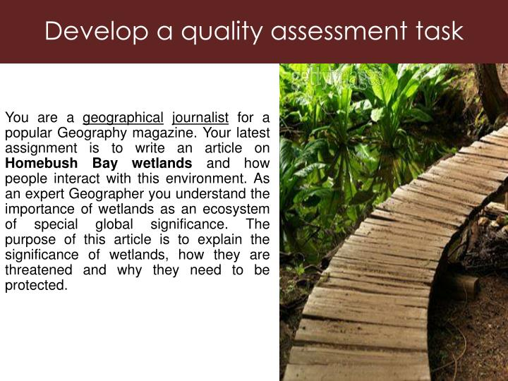 Develop a quality assessment task