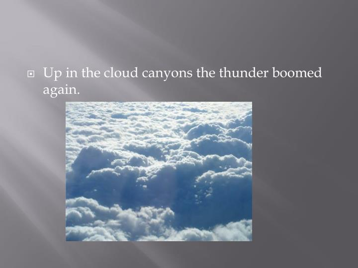 Up in the cloud canyons the thunder boomed again.