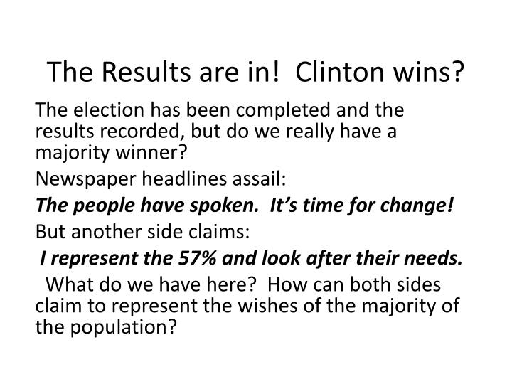 the results are in clinton wins n.