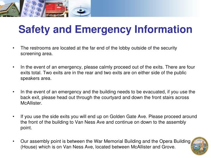 Safety and emergency information