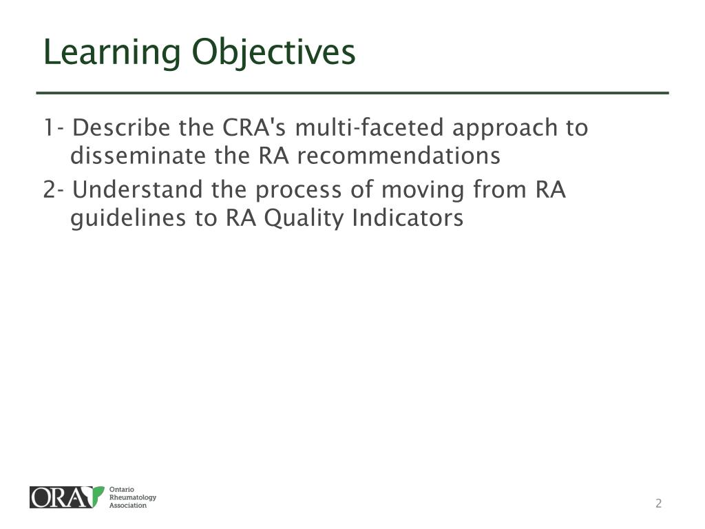 PPT - CRA Guidelines for the Management of Rheumatoid