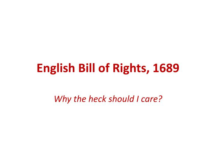 english bill of rights 1689 n.
