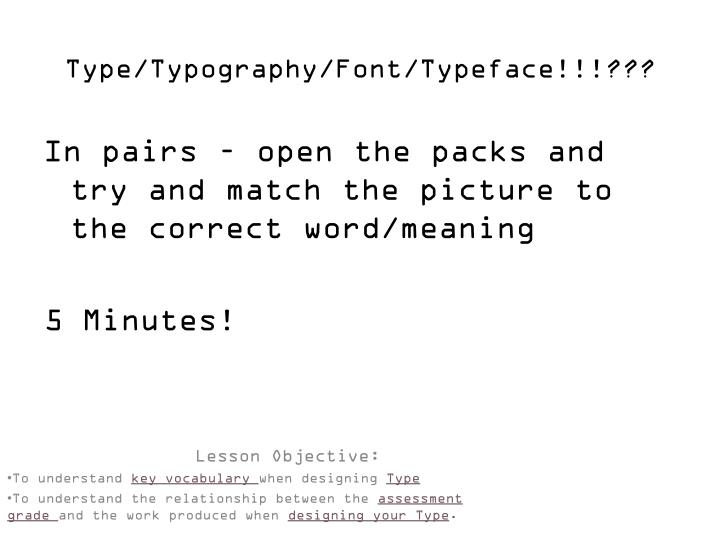 Type typography font typeface