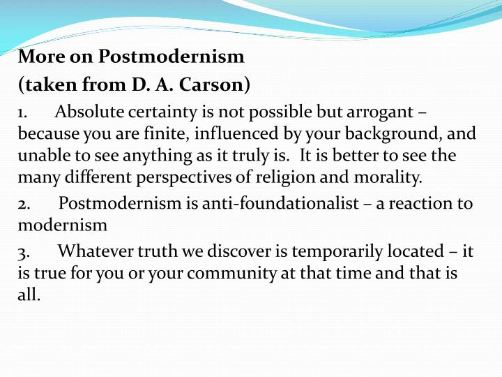 More on Postmodernism