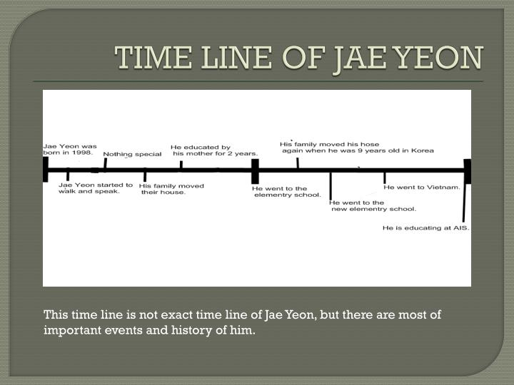 TIME LINE OF JAE YEON