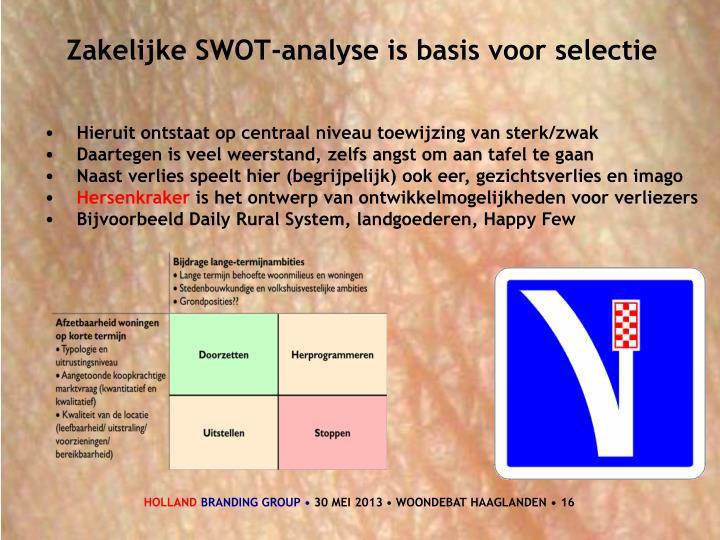 Zakelijke SWOT-analyse is basis voor selectie