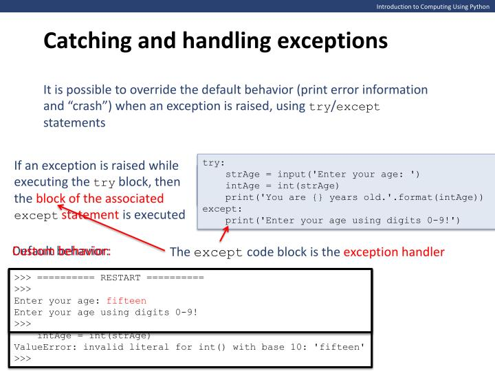 python catch exception and print