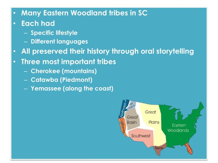 Many Eastern Woodland tribes in SC