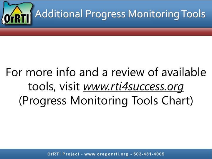 Additional Progress Monitoring Tools