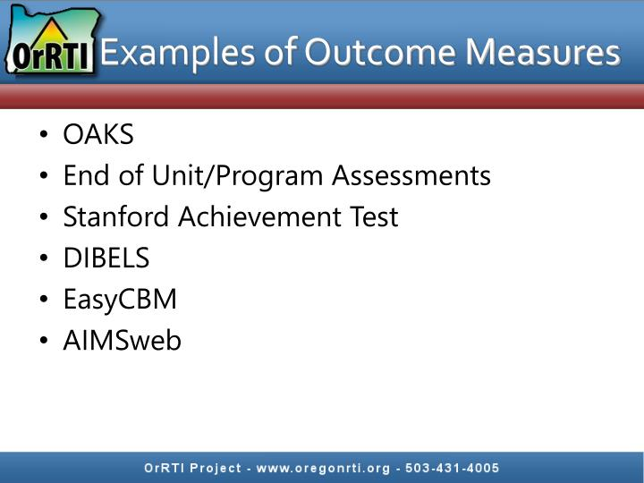 Examples of Outcome Measures