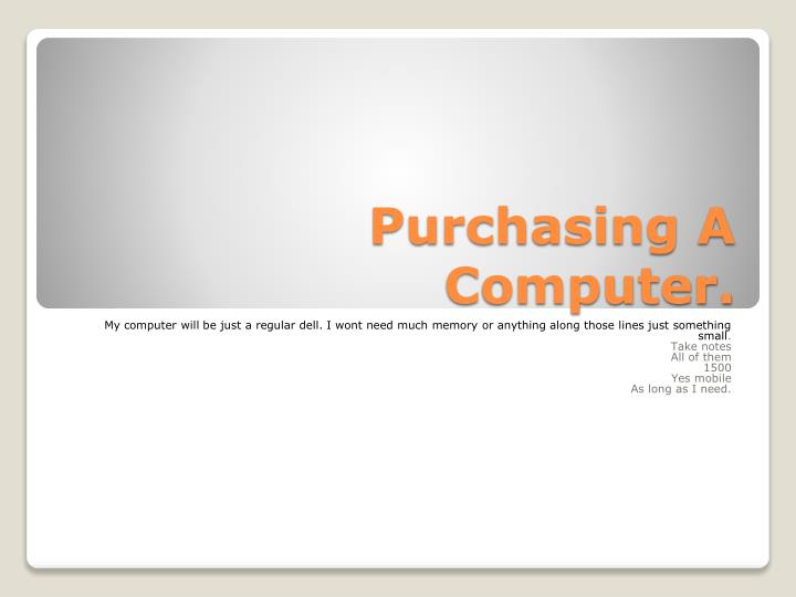 purchasing a computer n.