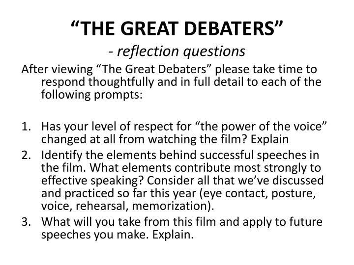 the great debaters essay assignment Extended essay font size julia jolie essays use of unconventional political participation essays on the great theo 201 short essay 3 related post of the great debaters essay unit.