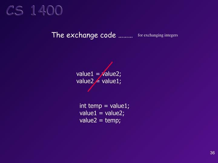 The exchange code ………