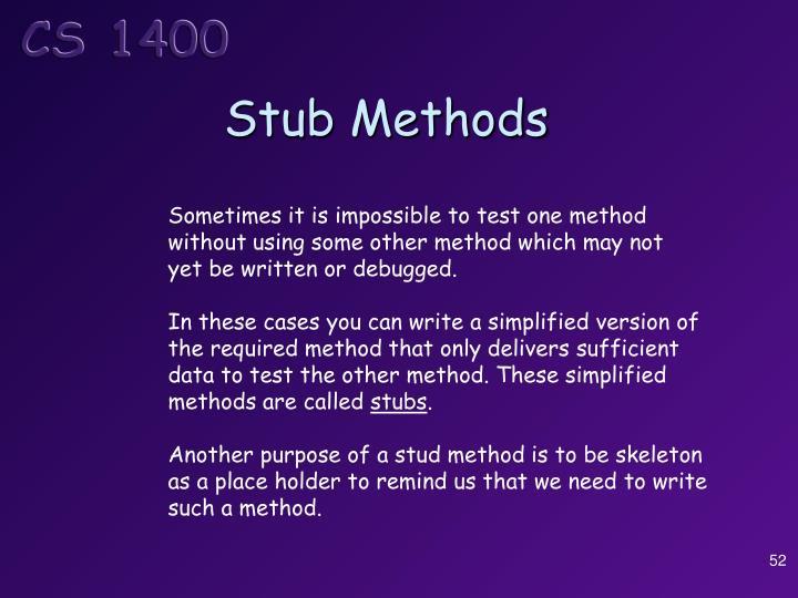 Stub Methods