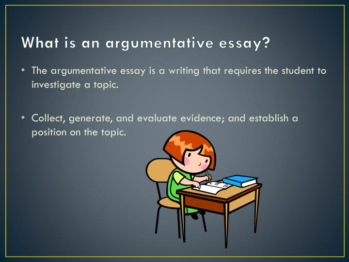 6 parts of an argumentative essay Argumentative essays are assigned to train your debating abilities this assignment has a great influence on how a student will perform or give a public a conclusion is, no doubt, the most important part of the argumentative essay as you can either support the good impression or destroy it entirely.