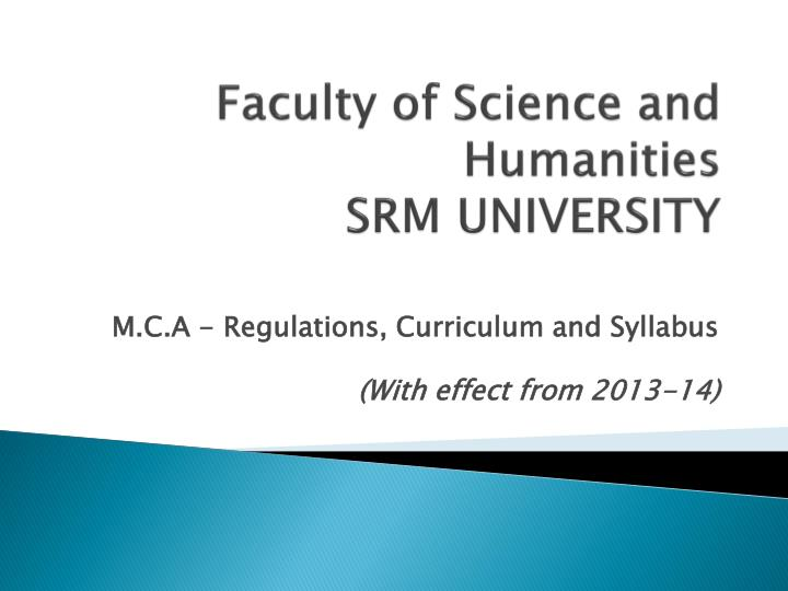 faculty of science and humanities srm university n.