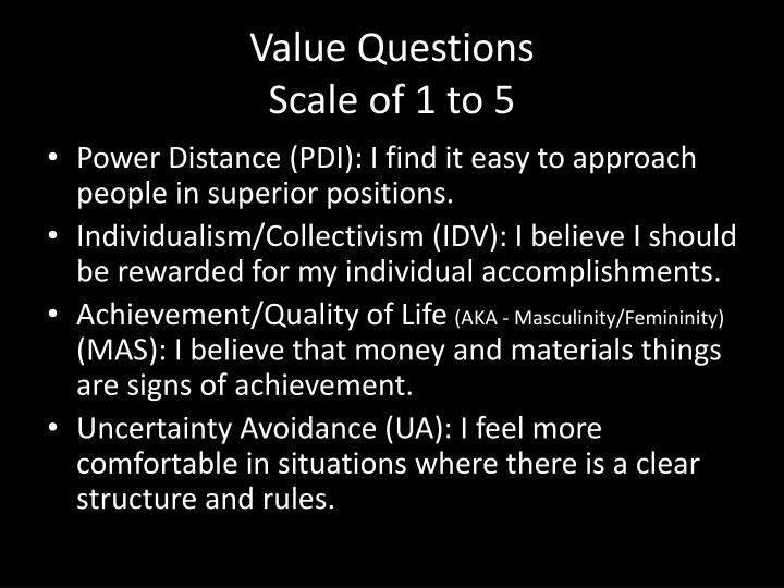 value questions scale of 1 to 5 n.