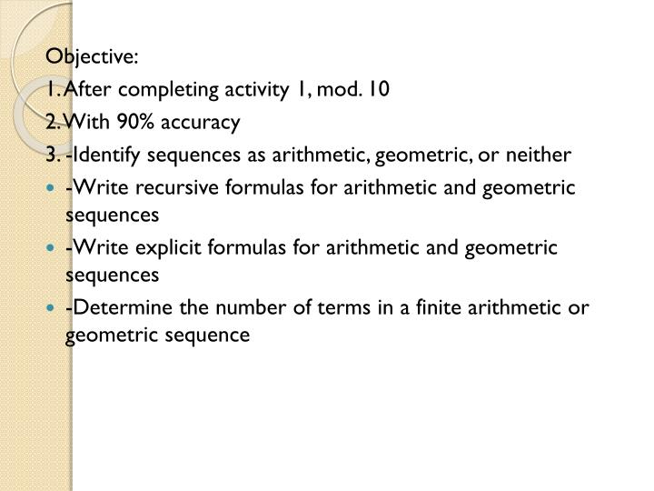 Ppt Objective 1 After Completing Activity 1 Mod 10 2 With 90